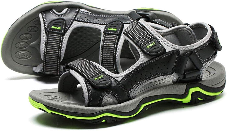 Herren Outdoor Sport Sandalen Wasserdicht Wandern Sandalen Strand Leder Sandalen Trekking Sommer Herren Sandalen Schuhe Klettverschluss,schwarz,39