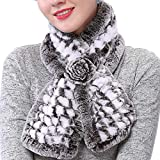 Valpeak Womens Fur Scarves Rabbit Fur Neck Warmer Scarf for Winter Fur Scarf Wrap (White)