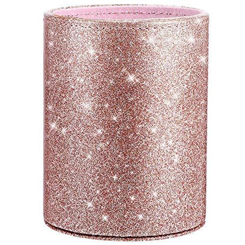 bobotron Pot à crayons à paillettes en polyuréthane - Pot à crayons - Porte-pinceaux de maquillage - Support de rangement pour bureau, classe, chambre, maison (or rose)