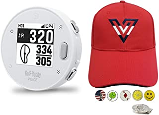 $89 » GolfBuddy Voice X Golf GPS/Rangefinder Bundle with 1 Volvik V-Logo Golf Hat RED Color (Adjustable), 5 Ball Markers and 1 H...