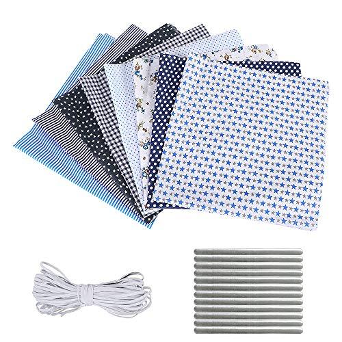 papasgix Juego de 8 piezas de tela de algodón por metros para coser, patchwork, paquete de tela de algodón, 50 cm x 50 cm (azul 8pc)