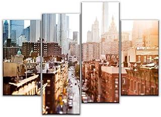 4 لوحات لوحات من القماش - صور الرمز المزخرف - تتتبع مدن وصور المستقبل - هدايا ديكور المنزل - لوحة فنية جدارية من القماش لغ...