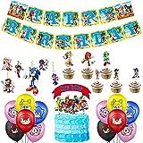 Sonic Geburtstagsfeierdekoration,33PCS Sonic Deko Geburtstag Set mit Luftballons Banner Flagge & Cake Topper Themed Party Dekorationen Lieferungen