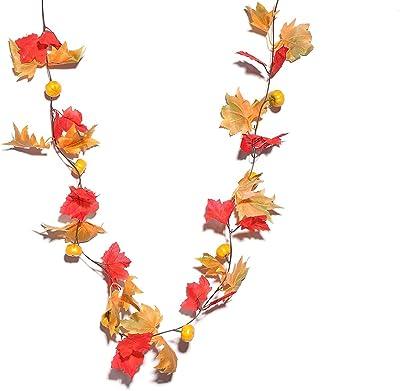 Tinksky Guirlande de Feuilles d'érable artificielles à Suspendre de vignes avec Citrouille fête Jardin Windows Décoration Murale pour Noël Mariage 2pcs
