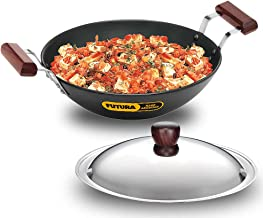 Futura IL23 Induction Compatible Hard Anodised Flat Bottom Deep Fry Pan / Kadhai with Steel Lid, 2.5 Liter