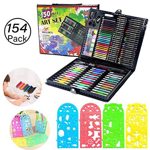 JiaHome Set di Strumenti da Disegno per Bambini, 154 Pezzi,Valigetta dell'Artista | Set Pennarelli Matite Pastelli Colorati | Ottima Idea Regali per B