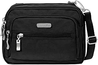 Baggallini Multi Pocket Crossbody/Waist Bag for Women - Highly Functional, Durable Design for Travel, Sightseeing, or Shopping - Great Utility Purse - Optimal Organizational and Accessibility (Black/Khaki)
