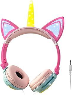 ONTA Unicorn Kids Headphones, Cat Ear LED Light Up Foldable Earphone Wired Over On Ear for Girls Boys,Kids Headband Toddle...