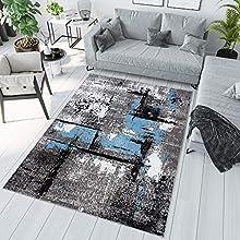 TAPISO Maya Alfombra de Salón Comedor Juvenil Diseño Moderno Blanco Azul Gris Negro Moteado Delgada 200 x 200 cm