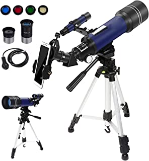Gift Telescopes for Astronomy,70Mm HD Refractor Telescopes with Adjustable Tripod Photo Shutter and 4 Moon Filter for Tele...