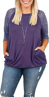 Womens Tops Plus Size Raglan Shirt 3/4 Sleeve Short Sleeve Striped Crew Neck Tshirt Tunic with Pockets