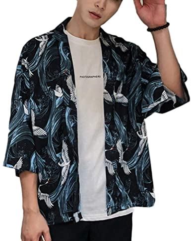 LaoZanA Hombre/Mujer Camisa Kimono Estilo Japonés Estampado Holgado Cárdigan