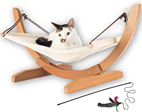 Vea pets Luxury Cat Hammock - Large Soft Plush Bed - Holds Small to Medium Size Cat or Toy Dog | Anti Sway | Attractive & Sturdy Perch | Easy to Assemble | Wood Construction