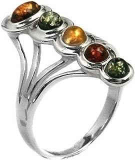 Multicolor Amber Sterling Silver Fashion Statute Ring