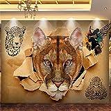 Carta Da Parati Murales,Moderno Retro Creative Leopard Animal Hd Arte Impresión De Gran Tamaño Photo Wallpaper Seda Mural Para Bar Ktv Hotel Background Restaurant Hotel Study Wall Deco,76In×108In