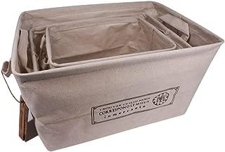 VIVIMONKEY Fabric Storage Bins Foldable Organizing Container For Kids Toys Books Clothes Linen Cotton Organizer Boxes Home Storage Baskets - Set of 3 (S&M&L)