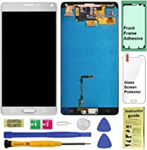 Display Touch Screen (AMOLED) Digitier Assembly with Stylus Pen Sensor and Home Button for Samsung Galaxy Note 4 (IV) N9100 N910A N910V N910P N910T N910R4 N910W8 N910F N910H N910G N910C N910U (White)