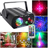 Disco DJ Light Party Lights Disco Ball Stage Strobe Lights with Remote Control Sound Activated LED Water Ripples Projector Effect for Dancing Club Bar Pub Birthday Christmas Halloween Festivals