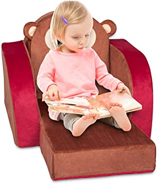 Kinfant Kids Fold-Out Couch/Chair Lounger Toddler Chair & Kids Sofa-Comfy 3-in-1 Flip Open Couch/Sleeper for Kids
