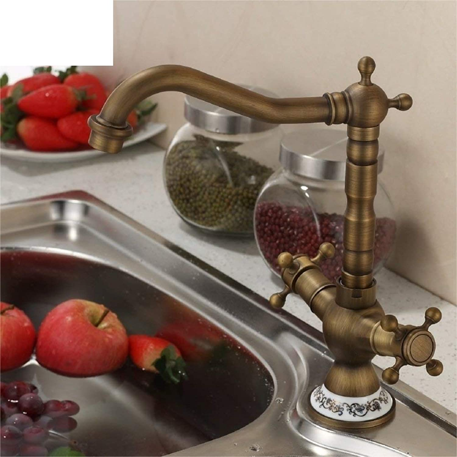 FuweiEncore European antique Double kitchen sink KITCHEN basin hot and cold taps All copper redatable-B (color   -, Size   -)