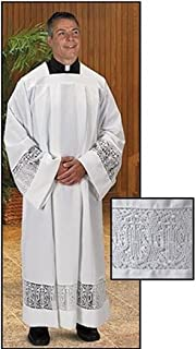 Catholic Factory Outlet White Polyeseter Pleated ALB with Latin Cross and IHS Lace, Large