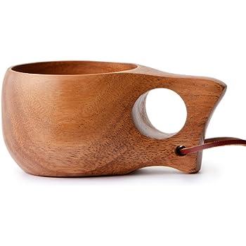 北欧 ククサ フィンランド 木製カップ ラージサイズ ブラウン 持ちやすい1つ穴タイプ