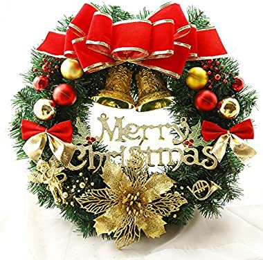 Nevosoo 24 Inches Christmas Wreath for Front Door Merry Christmas Artificial Pine with Red Berriest Garland for Outdoor and P