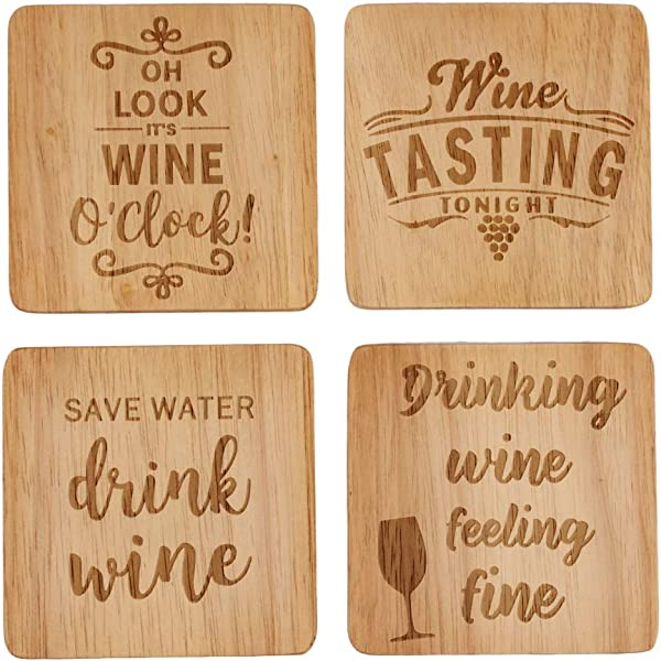 Wine Coaster Set Of 4 Wine Lover Gifts Fun Wine Gifts Wine Gifts For Women Natural Wood Coasters Wood Burned Coasters Funny Housewarming Gifts Hostess Gifts For Women