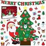 Yodeace árbol de navidad de fieltro,con 40 pcs diy adornos navidad, adornos de árbol de navidad para colgar en la pared (98cm)