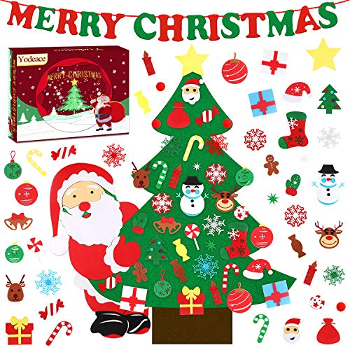 Yodeace Arbol de Navidad,con 42 pcs DIY Adornos Navidad,98cm Arbol Navidad Fieltro