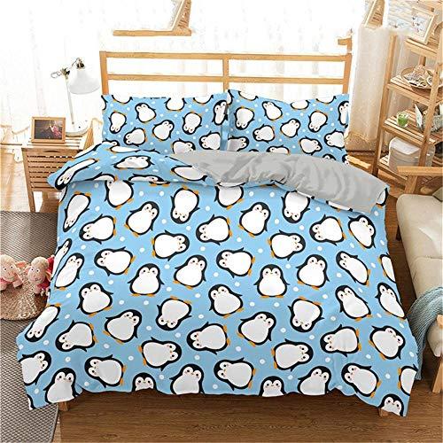 Avvsovs Duvet Cover Sets 3d Blue minimalist animal penguin Printing Bedding Set 100% Polyester Gift Duvet Cover 3 Pieces With 2 Pillowcases, Super King 230 x 260 cm Zipper closure Duvet cover set bo