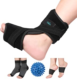 Plantar Fasciitis Night Splint for Plantar Fasciitis Pain Relief Sleep Support, Adjustable Dorsal Drop Foot Orthotic Brace for Women and Men Fits Right or Left Foot with Arch Support Socks