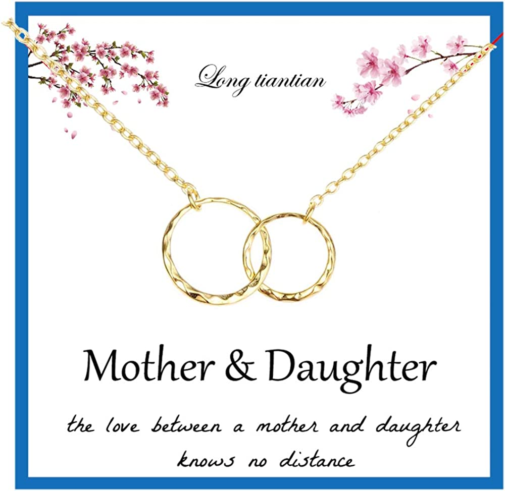 Long tiantian Mother Daughter Necklace Two Interlocking Infinity Double Circles Pendant Necklace Mother's Day Birthday Jewelry Gifts from Daughter for Mom
