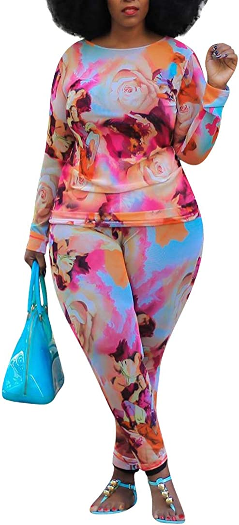 Two Piece Outfits for Women Plus Size Tie Dye Printed Tops + Bodycon Long Pants Lounge Sets Tracksuits Sportswear
