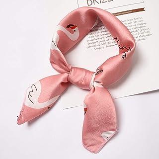 LEIDADA Women Yellow Small Square Silk Feel Satin Scarf Skinny Head Neck Hair Tie Band Accessories