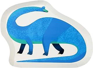 Talking Tables Plate-Dino Paquet de 12 Assiettes en Forme de Dinosaure, Multicolore