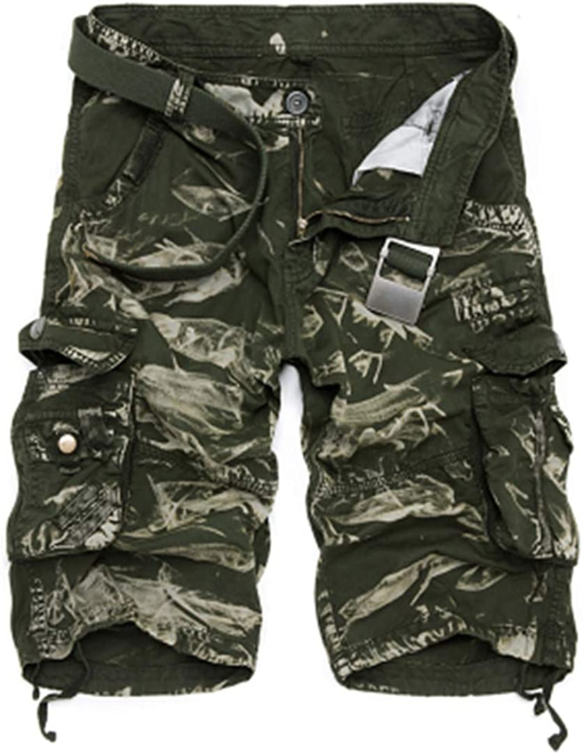 R-Hansets Mens Military Cargo Shorts Camouflage Tactical Shorts Cotton Loose Work Short Pants Plus Size Green CAMO 38