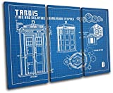Bold Bloc Design - Dr Who Tardis Blueprints Movie Greats 120x80cm Treble Canvas Art Print Box Framed Picture Wall Hanging - Hand Made in The UK - Framed and Ready to Hang 13-7926(00B)-TR32-LO-C