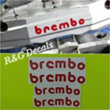 R&G BREMBO Racing Brake Caliper HIGH TEMP Decal Sticker Set of 4 Decals (Red)
