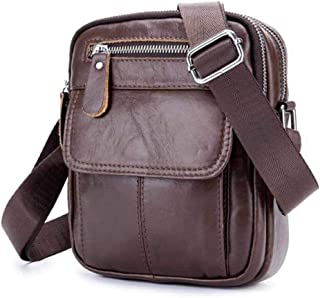 Haibeisi Fashion Unique Men's Shoulder Bags Leather Crossbody Bags Business Casuals Vertical Student Mini Bags (Color : Brown, Size : M)