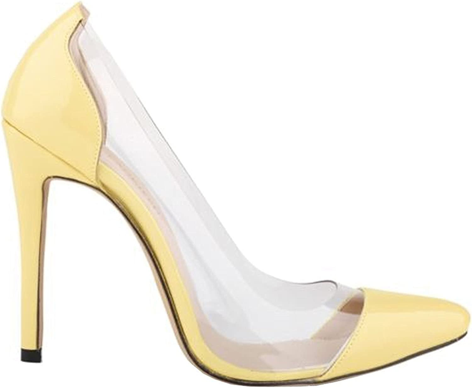 Oppicong Womens shoes Closed Toe High Heels Women's Pointed Slender Leather Pumps C-yellow9.5 B(M) US