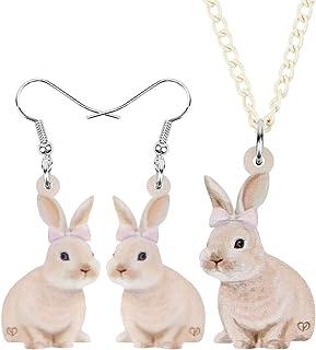 WEVENI Acrylic Easter Bunny Hare Jewelry Set Rabbit Earrings Necklace Pendant for Women Girls Ladies