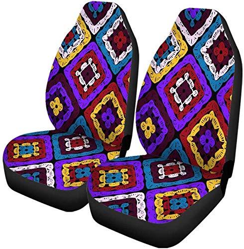 Set van 2 auto stoelhoezen oma vierkanten patroon en rimpels Afghaanse haak van veelkleurige universele auto voorstoelen beschermer past voor auto