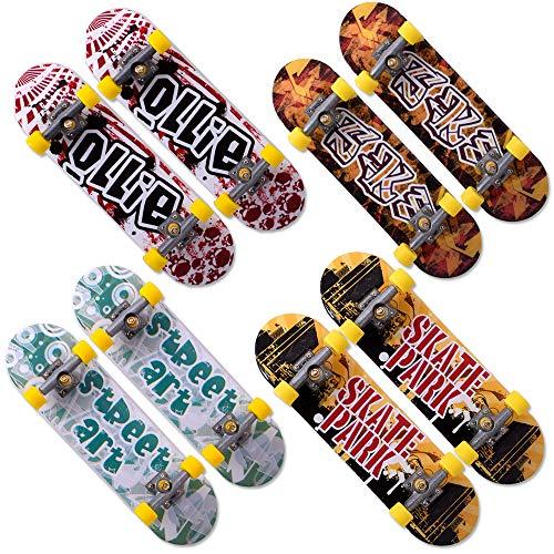 TE-Trend 8 Stück Design Fingerboard Set Finger Skateboard Finger Boards Hand Skateboards Spielzeug 20-teilig Mehrfarbig
