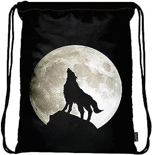 Lightweight Drawstring Bag Sport Gym Sack Bag Backpack with Side Pocket - Wolf Howling Moon