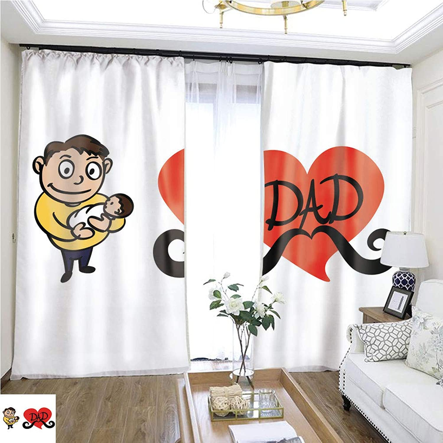 Air Port Screen Father Holding His Newborn Baby W96 x L168 Block The Sun Highprecision Curtains for bedrooms Living Rooms Kitchens etc.