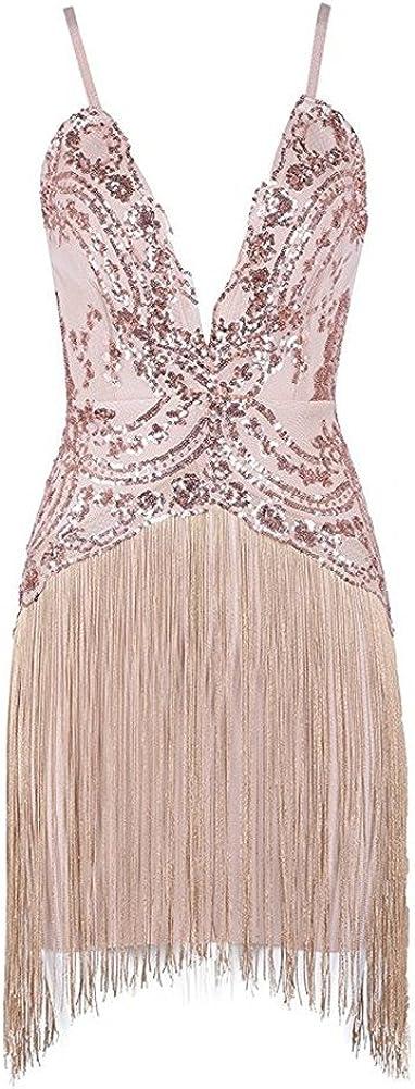 BeneGreat Women's Spaghetti Strap Mini Bodycon Bandage Night Club Dresses with Tassels Sequin