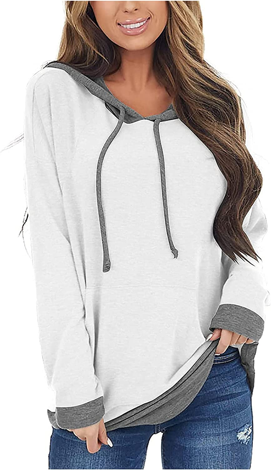 JPLZi Women's Long Sleeves Color Block Sweatshirts Hoodie Pullover Casual Drawstring Cute Tunic Tops Active Hooded Outwear
