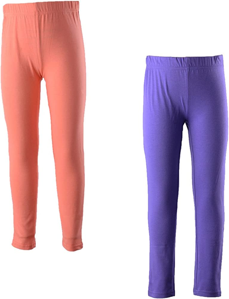 Monvecle 2 Pack Girls' Lycra Cotton Footless Tight Leggings 2 Colors All Seasons 5-12y