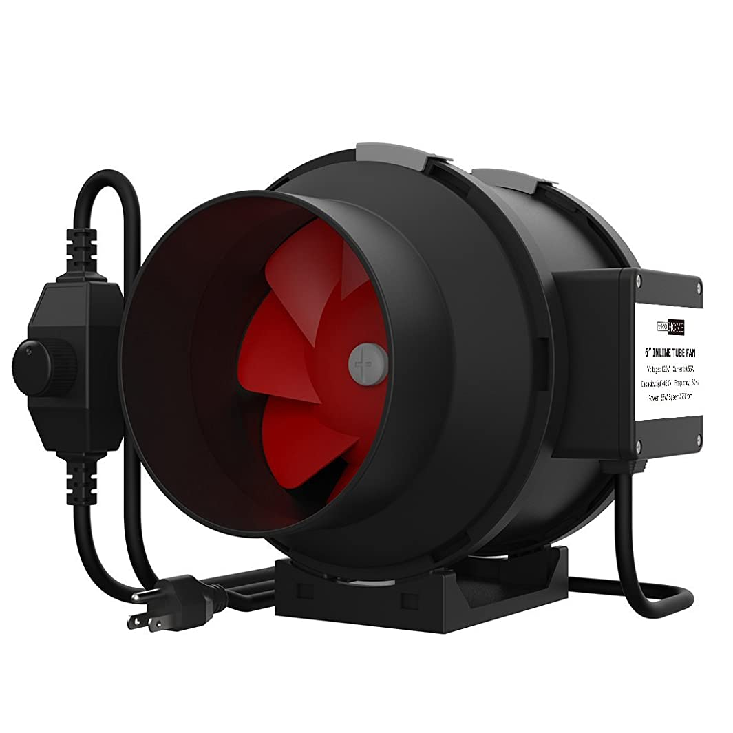 VIVOHOME 6 Inch 395 CFM Black Round Exhaust Inline Duct Fan with Variable Speed Controller for Indoor Garden Ventilation